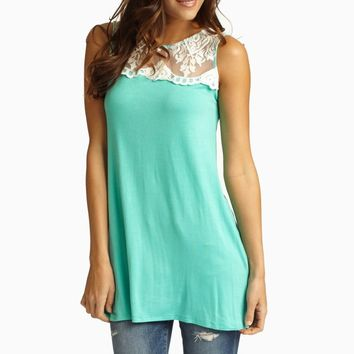 Mint Green White Lace Top Tank