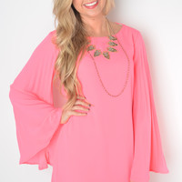 Hot Pink Pleated Bell Sleeve Dress