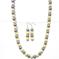 Yellow & grey pearl necklace and earring set