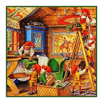 Elves Decorate for Nordic Christmas Detail #2 Jenny Nystrom  Holiday Christmas Counted Cross Stitch Pattern