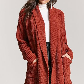 Ribbed Knit Shawl Collar Cardigan