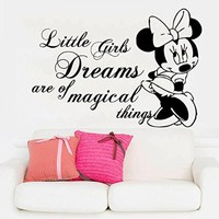 Minnie Mouse Wall Decals Quote Little Girls Dreams Are Of Magical Things Decal Sticker Kids Girl Room Bedroom Nursery Home Decor Art Mural SM81