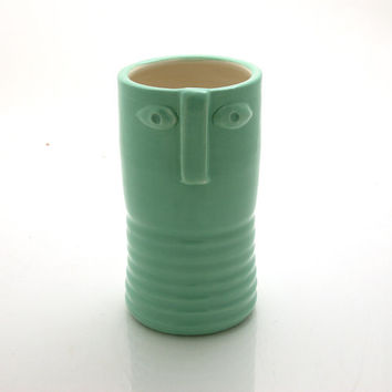 Mid Century Modern, mid-century modern inspired vase, ceramic flower vase, seafoam green, vase with face, danish art
