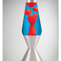 Lava Lamp with Red Lava, Blue Liquid, and Silver Base