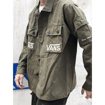 Vans 2019 new men's and women's retro wild casual jacket Army Green
