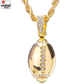 "Jewelry Kay style Men's 14k Gold Plated Iced Out Football Pendant Chain 24"" Necklace Set HC 1120 G"