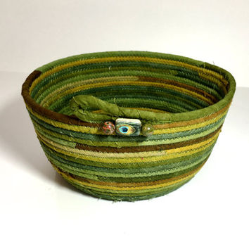 Coiled Rope Basket - Muted Green Cherrywood Fabric -  Quilted Fiber Art Organizer Bowl - Hand Dyed Fabrics - Suede Look Cotton - Sally Manke