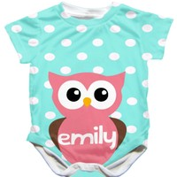 Personalized Handmade Owl Onesuit - Available 0-24 Months