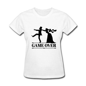 Best Gift For Friend game over bride groom bachelor bachelorette party Funny Cotton funny t shirt women
