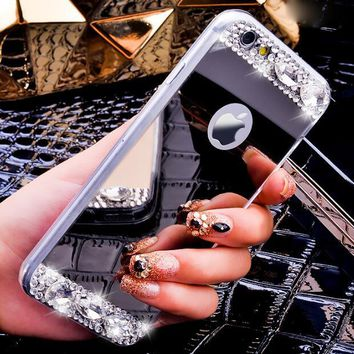 Luxury Diamond Rhinestone Mirror Case Cover For Iphone X 8 Plus 7 7 Plus 6 6 Plus 4 4S 5 5S Case Cover