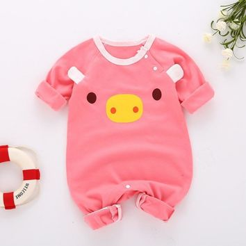 winter baby girl romper lion printed toddler girl clothes long sleeve baby boy winter clothes warm cotton children clothing set