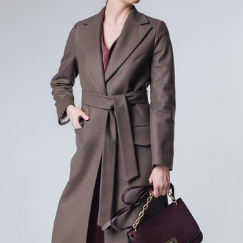 Brown Coat Brown Wool Coat Taupe Coat Brown Coat Women Spring Women Coat Long Brown Coat Womens Ladies Coats Brown Outwear Wrap Coat
