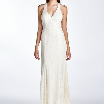 Women's Bow Detail V-Neck Evening Gown