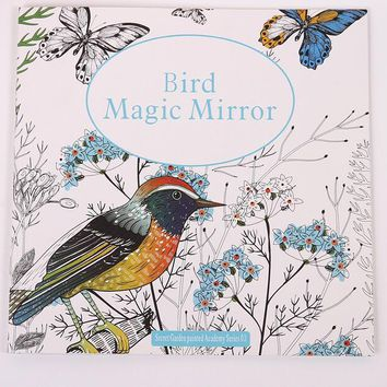 Bird Magic Mirror Based on Alice in Wonderland Inky Hunt Coloring Book Children Adult Kill Time Graffiti Painting Drawing Book