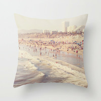pillow cover, throw pillow, beach pillow home decor, decorative pillow case, neutral gray, summer, Santa Monica beach home accent, LA