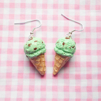 Ice Cream Cone Earrings, Ice Cream Earrings, Mint Chocolate Chip, Chocolate Mint, Food Earrings, Dessert Earrings, Miniature Food, Ice Cream
