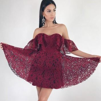 Dark Red Patchwork Lace Ruffle V-neck Short Sleeve Mini Dress