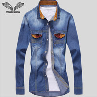 Men Shirt 2016 Spring New Arrival Casual Male High Quality Long Sleeve Slim Fit Fashion Unique Button Design Denim Shirts N75