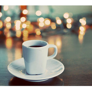 Still Life Photography, 5x7 Print, Espresso, Coffee Photograph, Cup, Lights, Neutral Colors, Teal,Cafe Decor