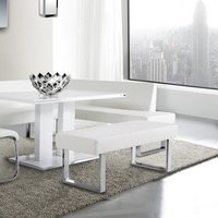 Somette Leah White Dining Bench | Overstock.com Shopping - The Best Deals on Dining Chairs