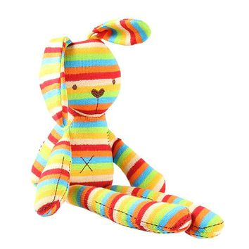 Baby Rabbit Sleeping Comfort Toys with Rainbow Color Knitted Sweet Cute Stuffed Toys Bunny Dolls For kids girl Birthday Gifts