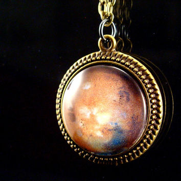 Science Mars Planet Necklace Glass Tile Jewelry Antique Brass