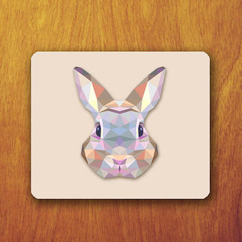 Rabbit Geomatric Mouse Pad Cream Pattern Art Abstract Cute Animal Abstract Mat Office Deco Desk Word Pad Personalized Pad
