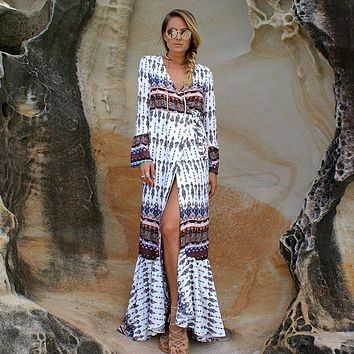 Retro Multicolor Print V-Neck Long Sleeve Maxi Dress Fashion Beach Cardigan Coat