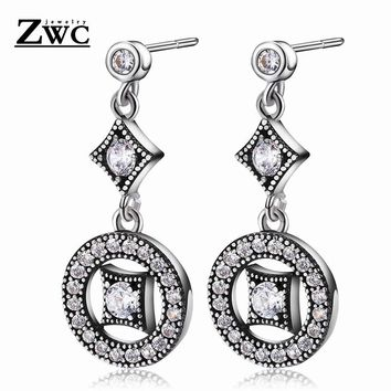 ZWC Fashion Glamour Vintage Crystal Inlay Long Stud Earrings for Women and Girls Party Wedding Elegant High-end Earrings Jewelry