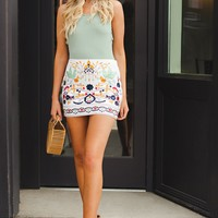 The Good Part Stitched Skirt (White)