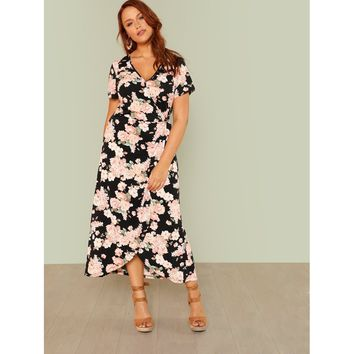Plus Size Multicolor Flower Print Wrap Dress