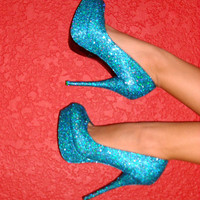 Made to Order Glitter High Heeled Pumps by mskelli on Etsy