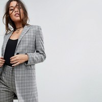 ASOS Tailored Longline Slim Check Double Breasted Blazer at asos.com