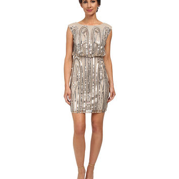 Adrianna Papell Short Blouson Art Deco Dress