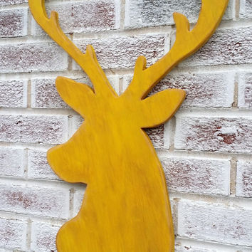 Art, Decorative Arts, Faux Taxidermy, Deer head, wood shaped buck head or doe, Fake deer head, rustic home decor, large, Rudolph Reindeer