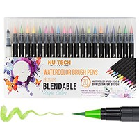 Premium Watercolor Marker Set of 21 By Nu-Tech | Brush Pens, Calligraphy, Adult Coloring Book, Manga, Fine Marker Tip | Mess Free Painting For All | Vibrant Colors and BONUSES | ASTM CERTIFIED