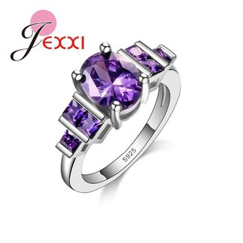 Jemin Luxury Desgin Purple CZ 925 Sterling Silver Wedding Rings For Women Elegant Band Engagement Rings Girls Bijoux