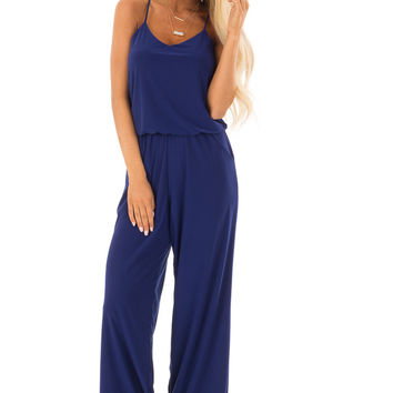 Royal Blue Slinky Jumpsuit with Elastic Waist and Pockets