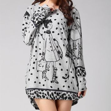 L-5XL new 2017 winter autumn women casual  long sleeve mini dress plus size loose fashion dresses  tunic  cotton wool