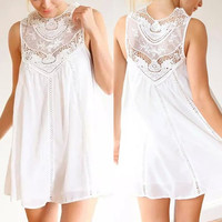 White Lace Panel Cut Out Dress