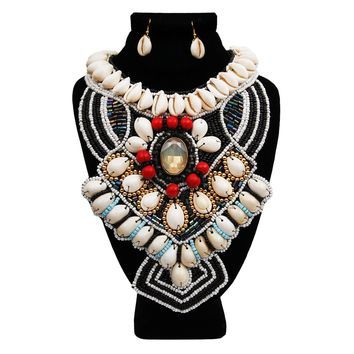 Cowrie Shell and Bead Bib Necklace Set with Crystal Detail