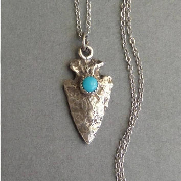 Vintage NATIVE American Turquoise Necklace, Sterling Silver ARROW Necklace, Navajo Arrowhead CHARM Pendant, Sleeping Beauty, Sterling Chain