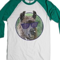 Deal With It Llama-Unisex White/Evergreen T-Shirt