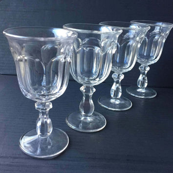 Old Williamsburg Crystal Clear Water Goblets, Set of 4 Imperial Glass Clear Water Goblets, 1970s Crystal Clear Water Goblets or Wine Glasses