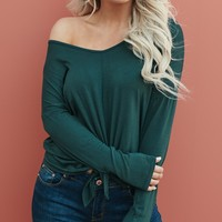 Fairytales V-Neck Top (Hunter Green)