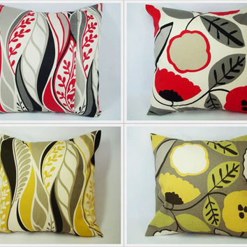 Pick Your Own Pair of Yellow and Red Floral Throw Pillow Covers - 16 x 16 inches Decorative Couch Pillow Cushion Cover Accent Pillow