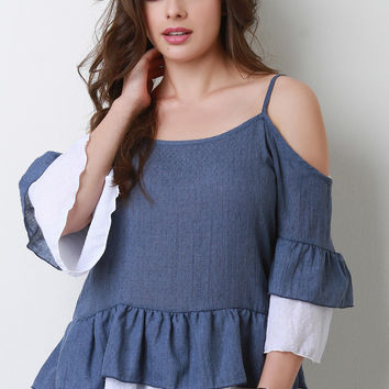 Cold Shoulder Tiered Ruffle Bell Sleeve Top