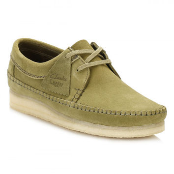Clarks Mens Forest Green Suede Weaver Shoes