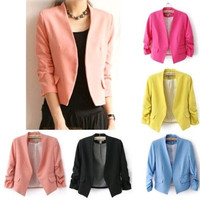 Women Fashion Candy Color Slim Buttonless Three Quarter Sleeve Coat Suit [8323043265]