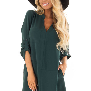 Hunter Green Loose V Neck Dress with Chest Pocket